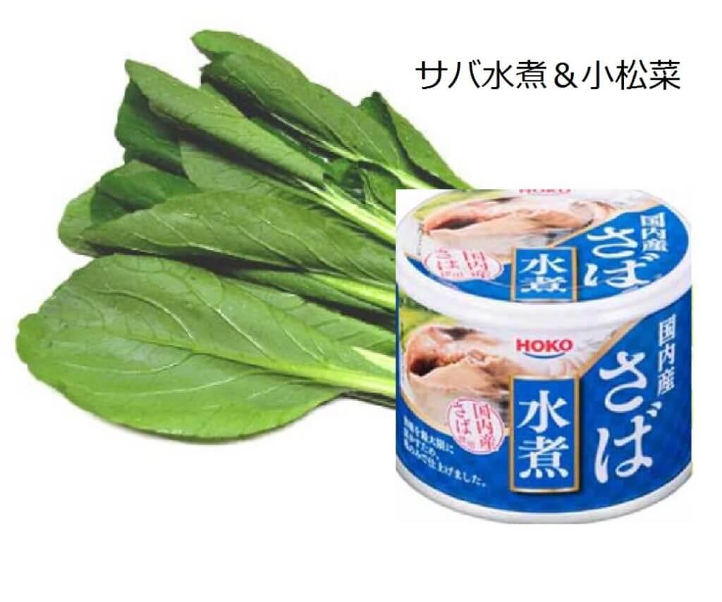 サバ水煮缶&小松菜